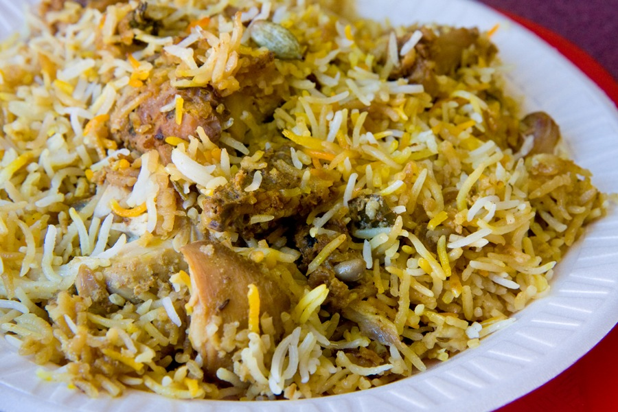 Stuff yourself with a plate of fragrant chicken biryani