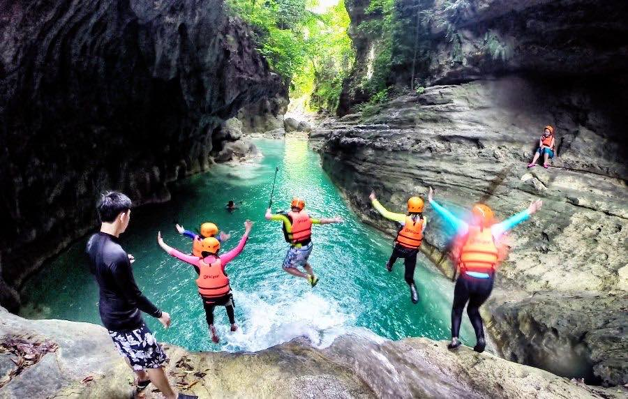 Exhilaration is only a jump away at Matutinao River Kawasan Falls