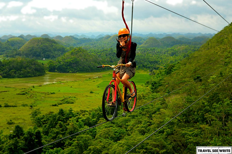 9 - The best way to admire the curves of the Chocolate Hills Bike Zipline