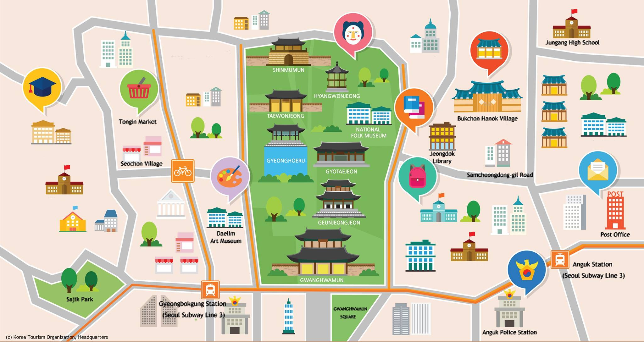 map of seoul top tourist attractions
