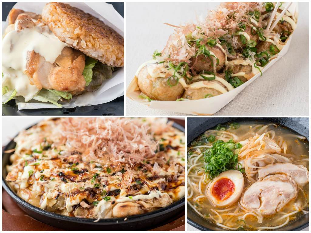 An enticing array of dishes await for you at Matsuri! Clockwise from top left - rice burger, takoyaki, seafood okonomiyaki and ramen.