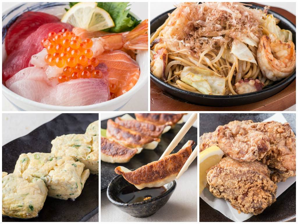 More dishes from the menu! Clockwise from top left – sashimi bowl, seafood yakisoba, rolled omelette with green onion and sardine, Nikkoken chicken gyoza and chicken karaage.