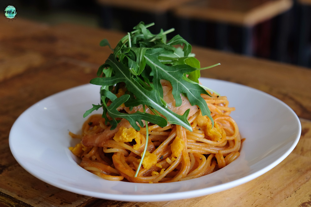 Spicy Salted Egg Smoked Salmon Pasta