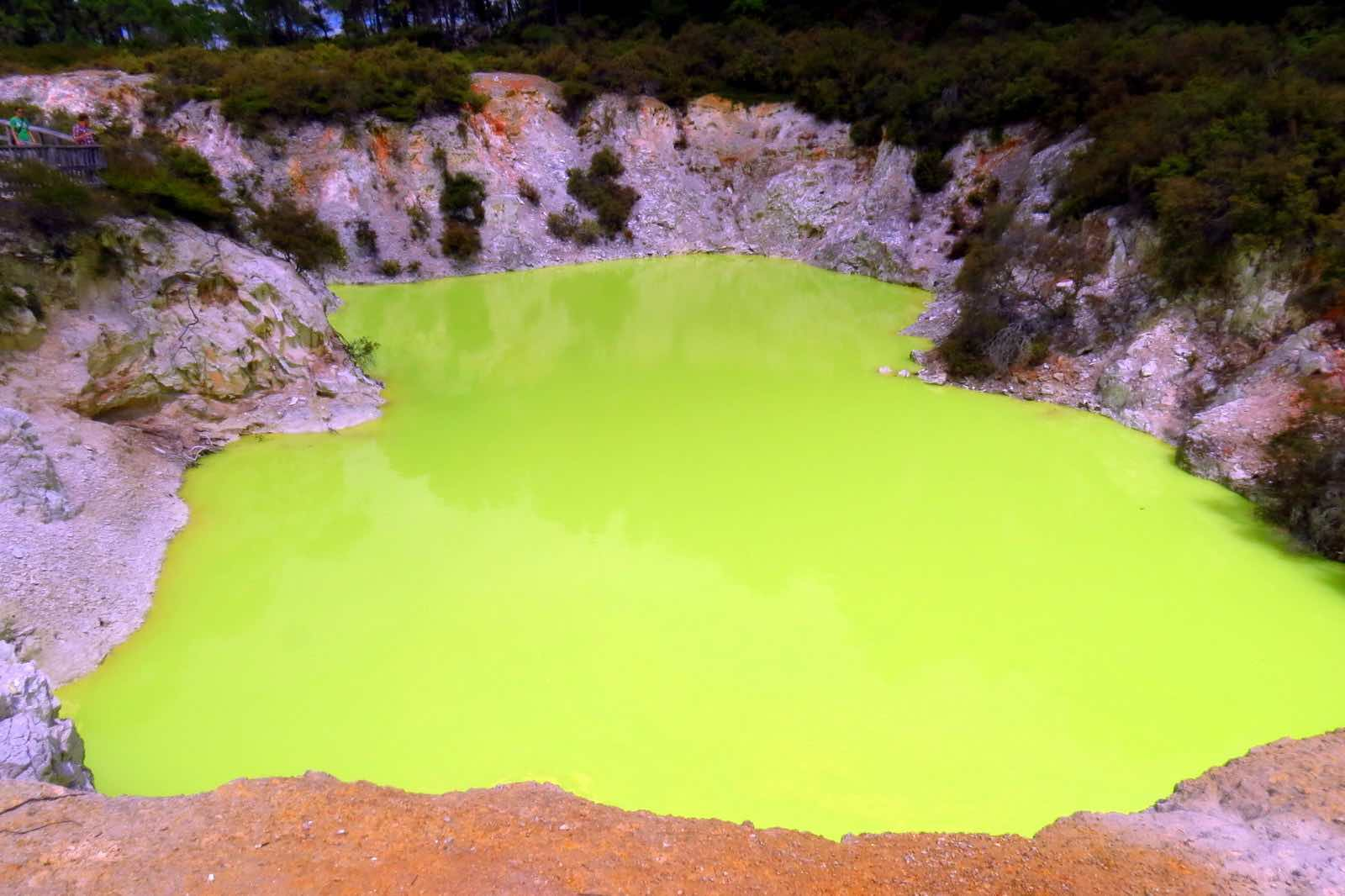 Colourful yet toxic water pond