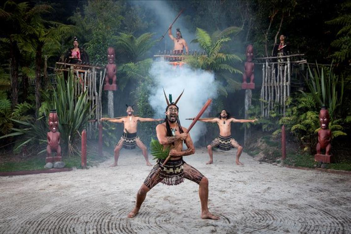 The Villagers welcoming visitors with the haka dance.