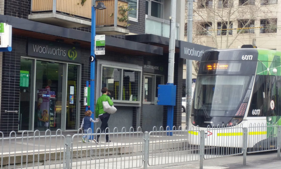 Tram passing Woolworths